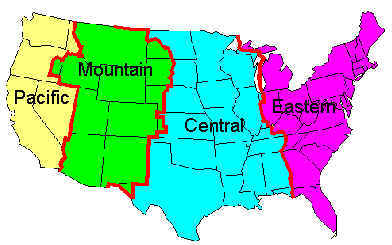 Eastern Time Zone Map  Topographic Map